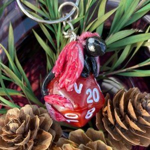 Dungeons & Dragons Clay Dragon Dice Keychain